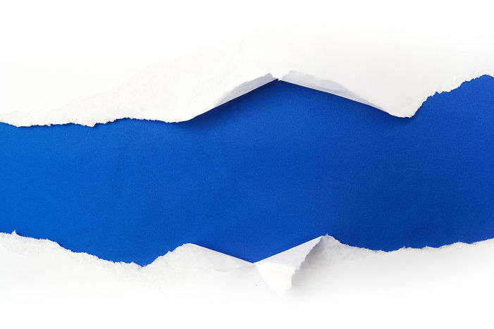 torn white paper on blue background. Coc