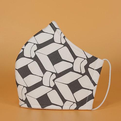 White w/ Geo Shape - 3 Layer Cotton Face Mask