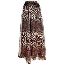 Leopard Print Chiffon Maxi Skirt Elastic High Waisted Light Comfortable Long A-L