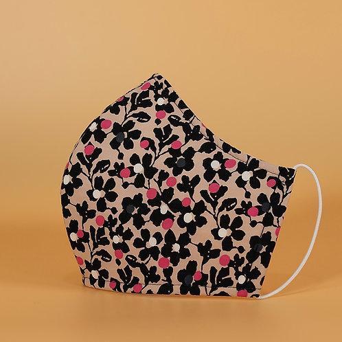 Beige w/ Black & Pink Floral