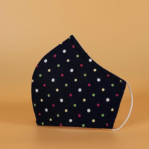 Black w/ Mini Dots - 3 Layer Cotton Face Mask