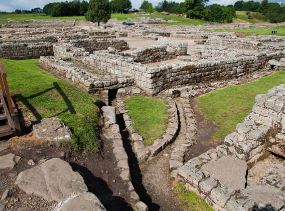 Ruins at Vindolanda Roman fort in Englan