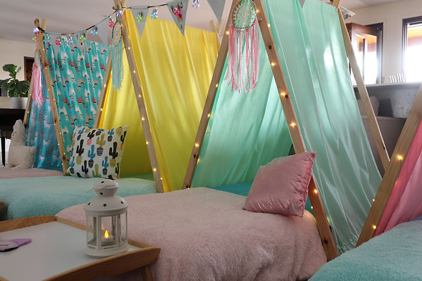 Blue, green, pink and lama teepee's all