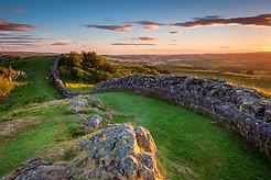 Hadrian's Wall near sunset at Walltown /