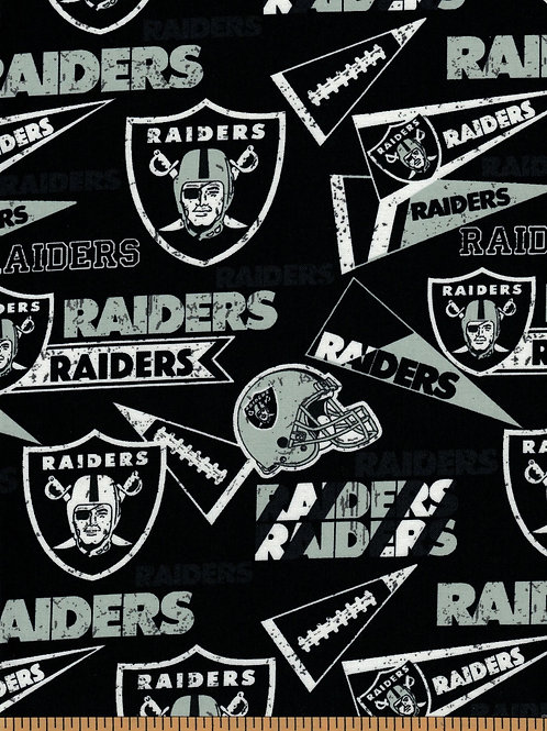 Las Vegas Raiders Pennants NFL Fabric|100% Cotton|Sold by the half yard