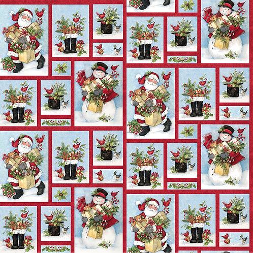 Santa & Snowman Christmas Fabric - 100% Cotton Sold by the half yard