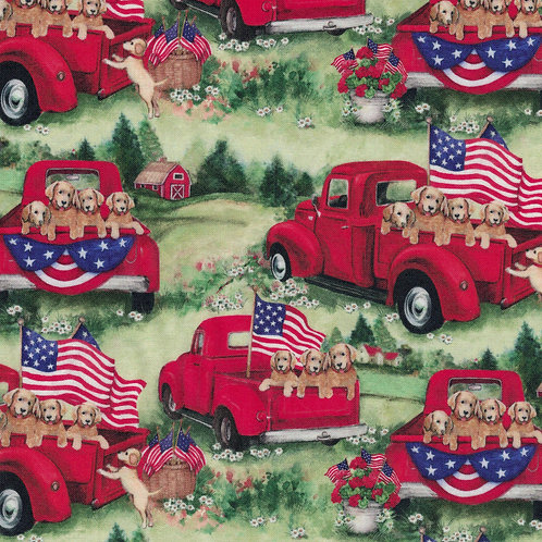 Patriotic Fabric Red Trucks & Puppies - 100% Cotton fabric Sold by the half yard