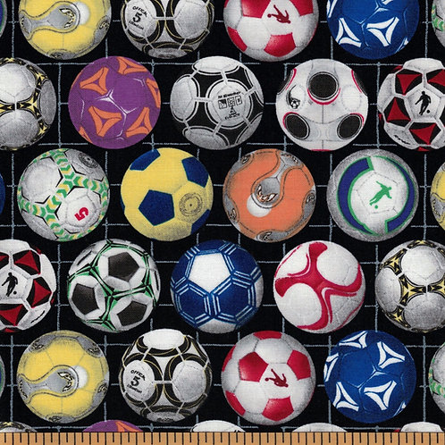 Multicolor Soccer Ball Fabric - 100% Cotton- Sold by the Half Yard