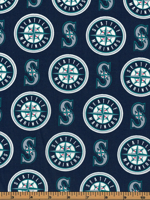 Seattle Mariners - MLB Fabric  100% Cotton Sold by the half yard