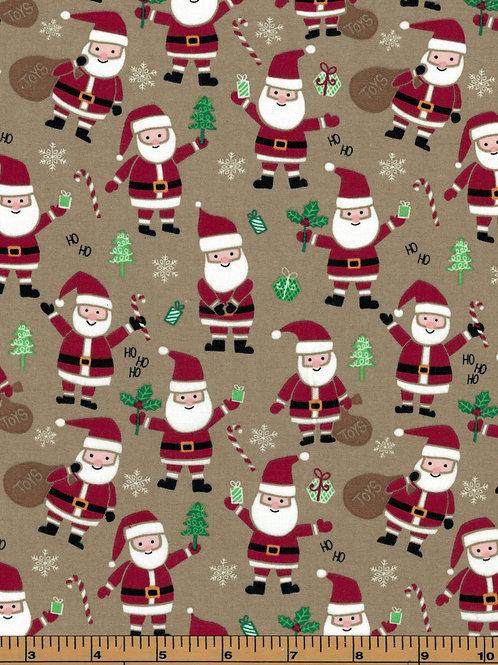 Santa on Brown Background Fabric - 100% Cotton- Sold by the Half Yard