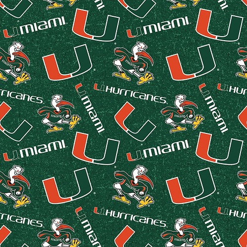 University of Miami Logo Toss |100% Cotton|Sold by the half yard