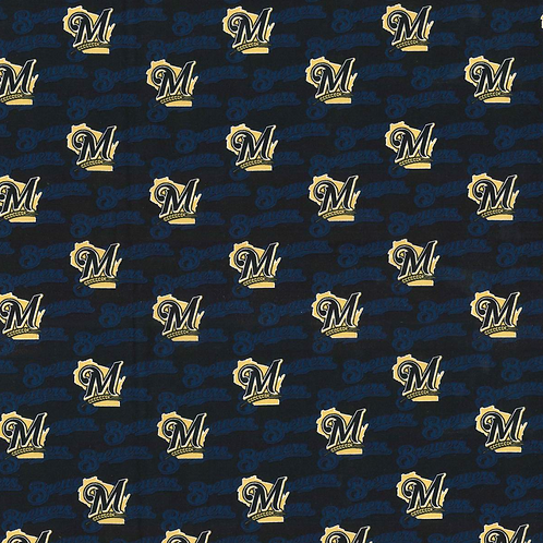 Milwaukie Brewers - Name Background MLB Fabric|100% Cotton|Sold by the half yard