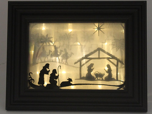 Nativity Set -Framed Indoor Tabletop Nativity Picture - Nativity Lightbo