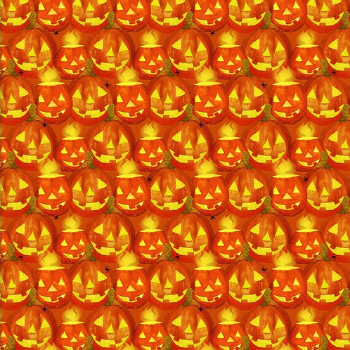 Orange Jack-O'Lanterns Halloween Fabric - 100% Cotton | Sold by the half yard