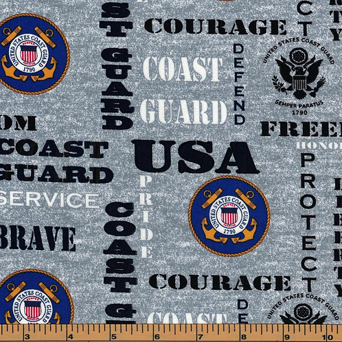 US Coast Guard Logo Military Fabric - 100% Cotton Fabric - Sold by the half yard
