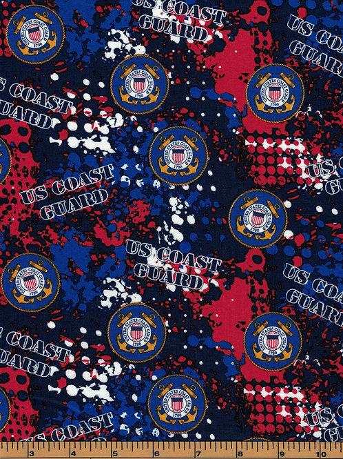 US Coast Guard Camo Military Fabric - 100% Cotton Fabric - Sold by the half yard