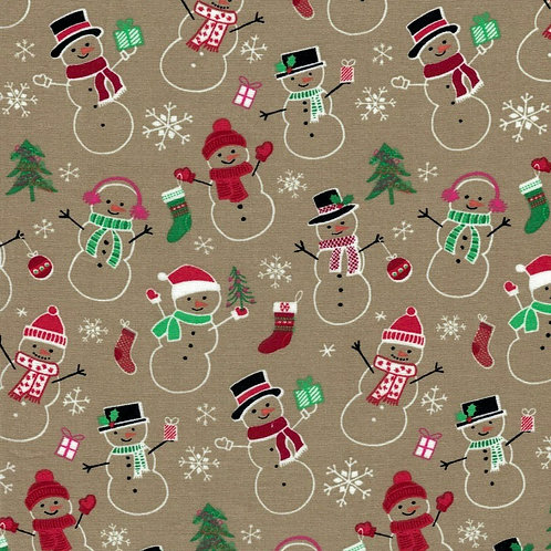 Snowman Fabric - 100% Cotton- Sold by the Half Yard