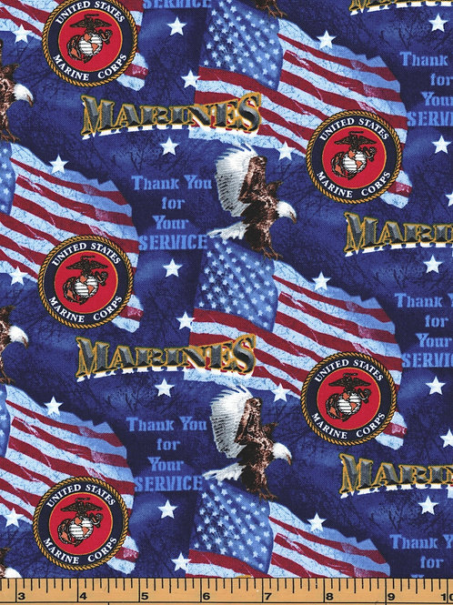 US Marines | Thank you for your service | 100% Cotton Fabric - By the 1/2 yard