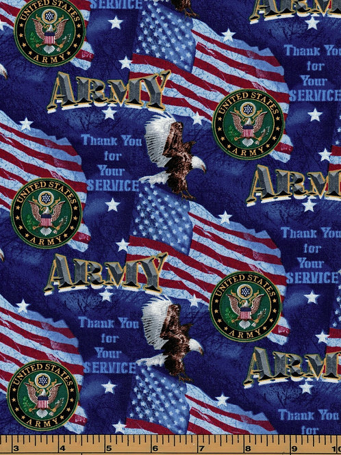 US Army | Thank you for your service | 100% Cotton Fabric - By the 1/2 yard