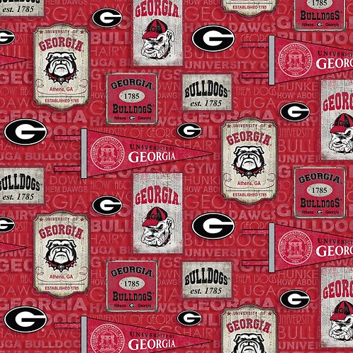 University of Georgia Bulldogs |100% Cotton|Sold by the hal