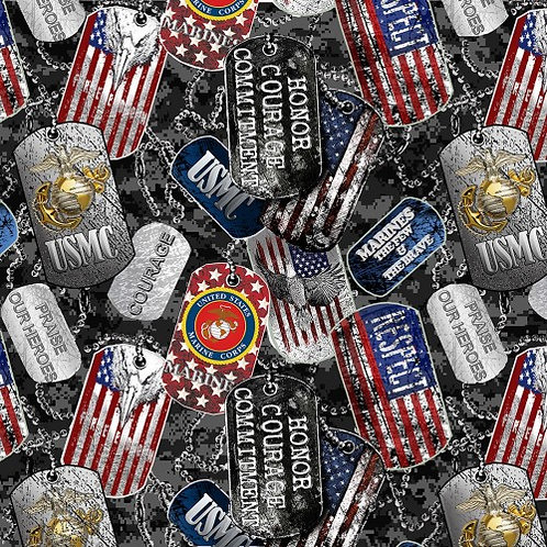 US Marines Dog Tags Fabric - 100% Cotton Fabric - Sold by the half yard