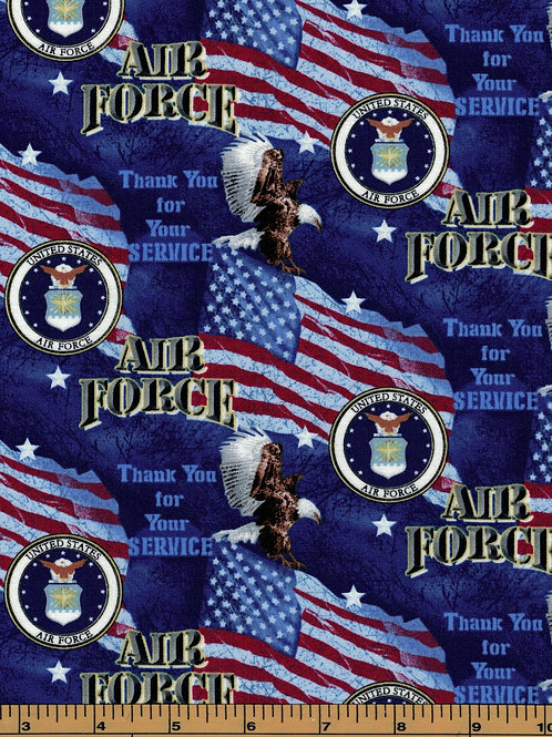 US Air Force|Thank you for your service|100% Cotton Fabric - By the 1/2 Yard