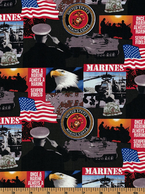 US Marines Picture Military Fabric - 100% Cotton Fabric - Sold by the half yard