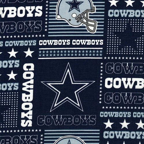 Dallas Cowboys -Square -  NFL Football Fabric -100% Cotton Sold by the half yard