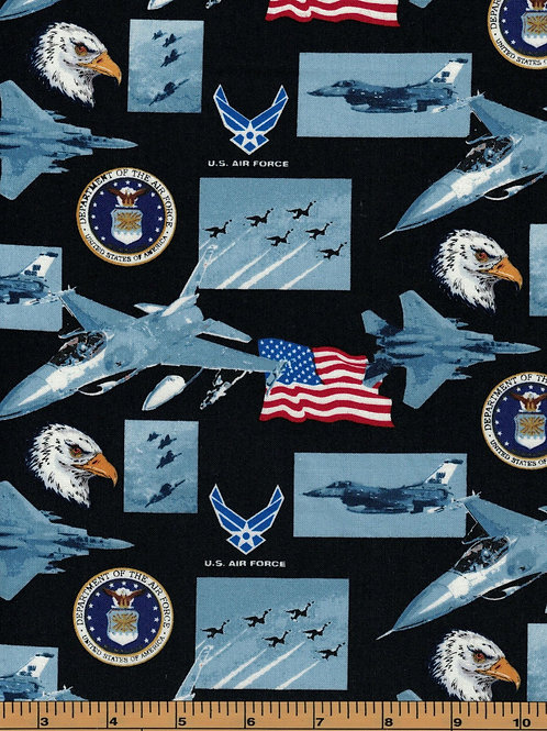 US Air Force Picture Military Fabric - 100% Cotton Fabric -Sold By the half yard
