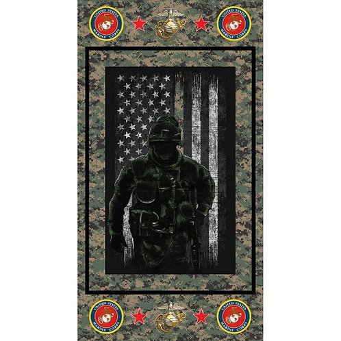 US Marines Soldier Silhouette Military Fabric - 100% Cotton Fabric