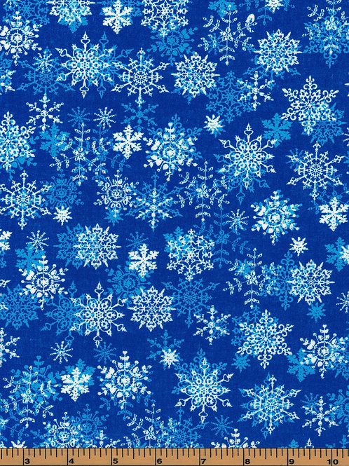 White Snowflakes on Blue  - 100% Cotton- Sold by the Half Yard