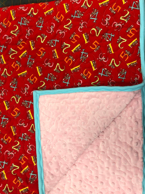 Personalized Pink Minky and Sock Monkey Flannel Blanket