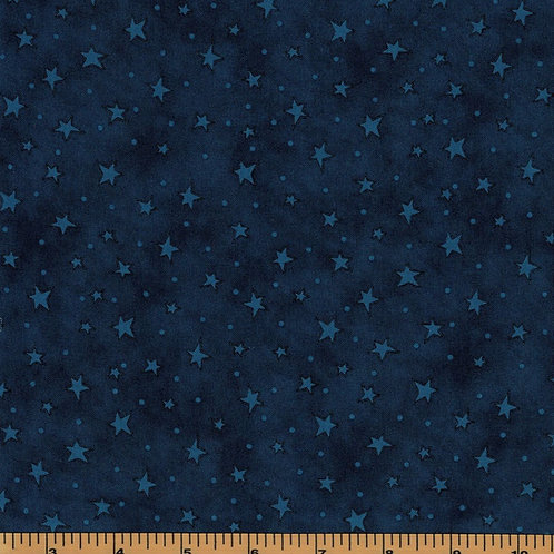 Indigo Blue Stars Filler Fabric |Starry Basics|100% Cotton|Sold by the half yard