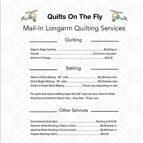 Longarm Quilting Order Form