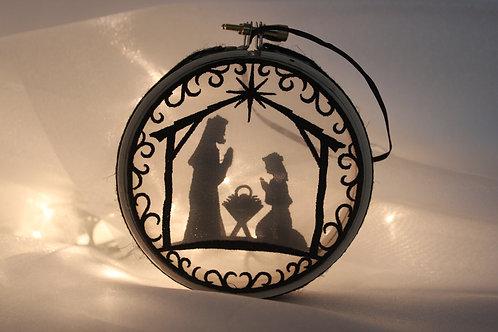 "4"" Nativity Scene Shadowbox Ornament"