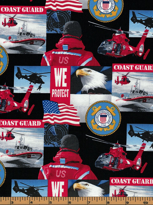 US Coast Guard Military Fabric - 100% Cotton Fabric -Sold by the 1/2 yard