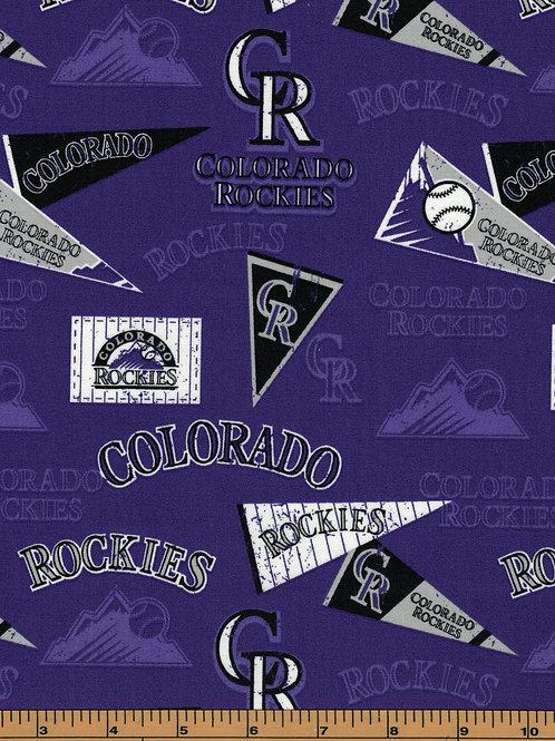 Colorado Rockies - Pennants - MLB Fabric |100% Cotton|Sold by the half yard