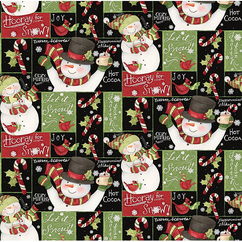Chalkboard Snowman Christmas Fabric - 100% Cotton fabric Sold by the half yard