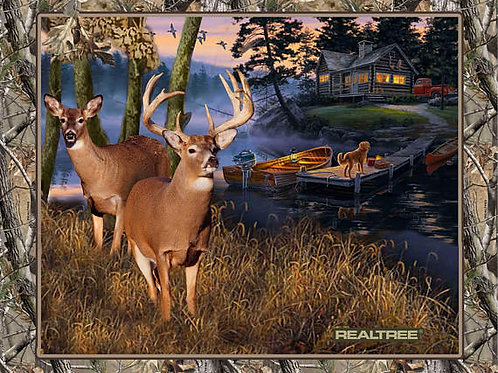 Lakeside Sunset - Cabin in the Woods Panel | RealTree | 100% Cotton