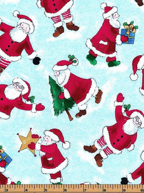 Santa on Aqua Background Fabric - 100% Cotton | Sold by the half yard