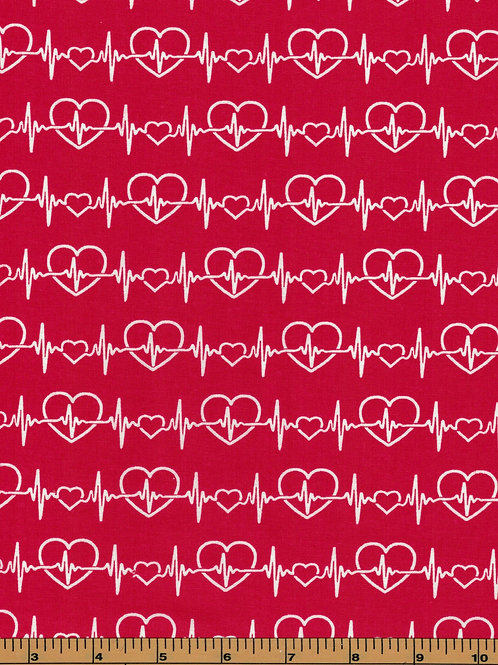 EKG on red -Healthcare Workers Fabric - 100% Cotton Fabric|Sold by the half yard