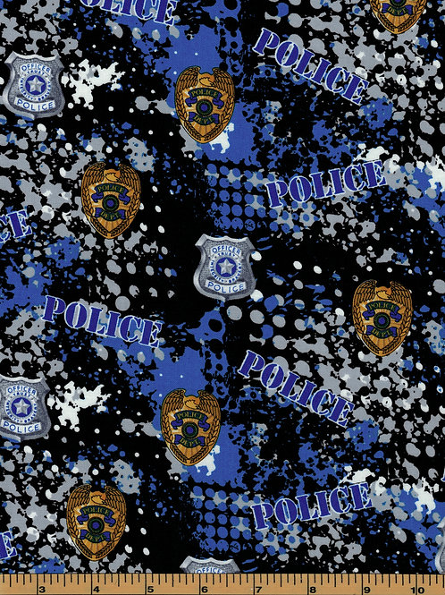 Police Officer Fabric - 100% Cotton Fabric - Sold by the half yard