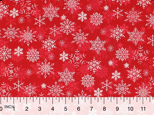 White Snowflakes on Red  - 100% Cotton- Sold by the Half Yard