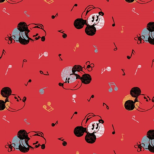 Mickey and Minnie Musical Fabric | 100% Cotton | Sold by the H