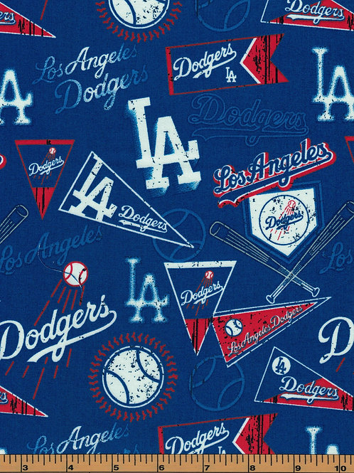Los Angeles Dodgers Pennants MLB Fabric |100% Cotton|Sold by the half yard