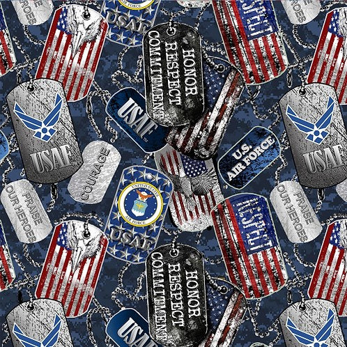 US Air Force Dog Tags Fabric - 100% Cotton Fabric - Sold by the half yard