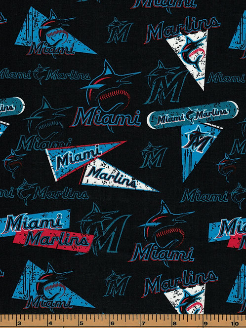 Miami Marlins - MLB Fabric |100% Cotton|Sold by the half yard