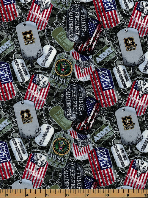 US Army Dog Tags Fabric - 100% Cotton Fabric - Sold by the half yard
