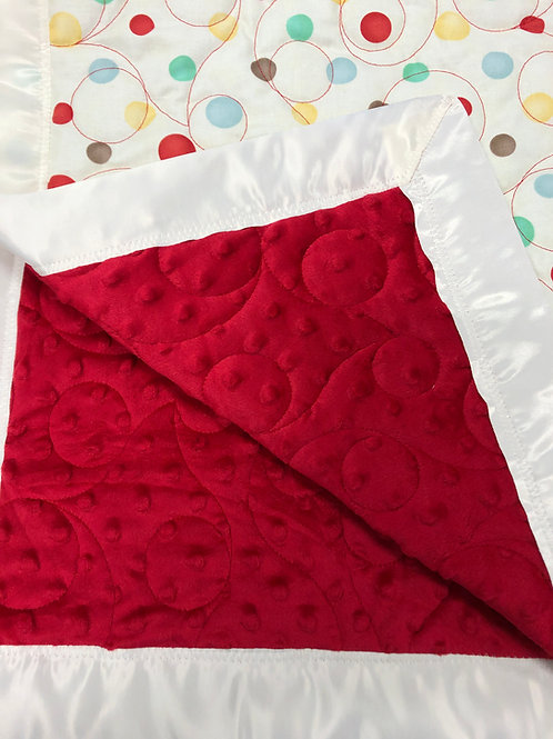 Personalized Red Minky and Cream Polka Dot Cotton Blanket