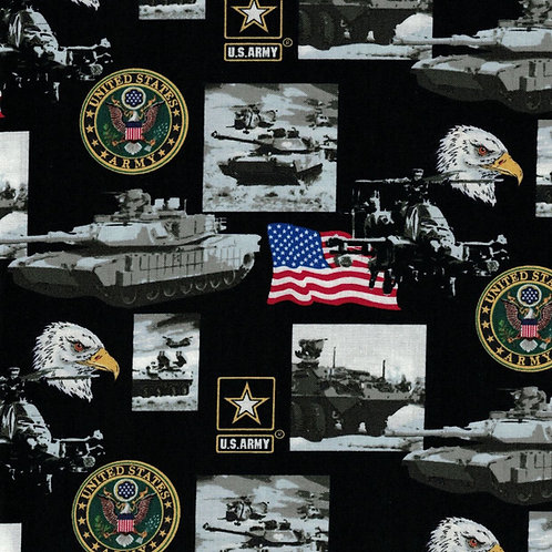 US Army Picture Military Fabric - 100% Cotton Fabric - Sold By the half yard